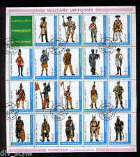 Military Uniforms sheet of 19 + label CTO Ajman State 1972