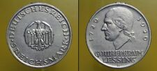GERMANY WEIMAR 5 REICHSMARK 1929 D LESSING  (cod.G.008)