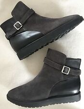 New Nine West Marko Grey Suede & Leather Low Boots sz 5.5M