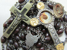 "† SCARCE ANTIQUE NUN'S GOLD & SILVER RELIC THECA BOVINE ROSARY 24 1/4"" †"