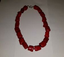 "RED CORAL LARGE CHUNKY   BEADED NECKLACE  16"" LONG"