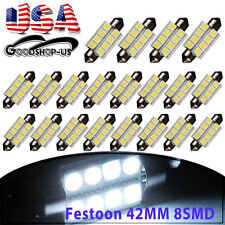 20Pcs White 42MM 5050 8SMD Festoon Car Dome Map Interior LED Light bulbs 569 578