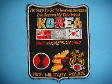 "BL PATCH US 118th MILITARY POLICE 7th INFANTRY DIV  ""KOREA 1961 THOMPSON 1962 """