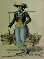 KLEIDER-TRACHT IN HAMBURG VIERLÄNDER BAUER FRAU MIT. Alt-Kolor Litho 1840 n SUHR