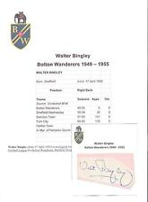 WALTER BINGLEY BOLTON WANDERERS 1949-1955 ORIGINAL HAND SIGNED CUTTING/CARD