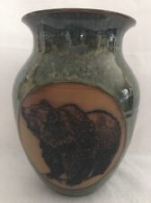"""Always Azul HandCrafted Colorado Pottery Grizzly Bear Wide Neck 10"""" Vase Seamist"""