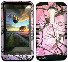PINK CAMO REAL OAK TREE on BLK Hybrid Cover Case For VERIZON LG Optimus G2 VS980