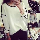 Geometric Design Women Long Sleeve Sweater Loose Pullover Outwear Tops New S0BZ