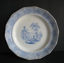 c 1850 Adams China England Staffordshire Plate Isola Belle Blue transferware