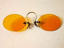 Antique Amber PINCE NEZ Sunglasses Spectacles VICTORIAN Vtg STEAMPUNK Edwardian
