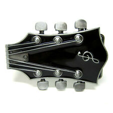 Electric Guitar Headstock Rock Roll Music String Tuner Belt Buckle Country Black