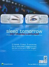 "Sony Ericsson ""sleep Tomorrow"" Phone 2005 Magazine Advert #3908"