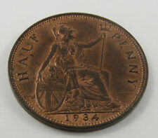 Pt-32 Great Britain 1934 Half Penny Coin. See Pictures