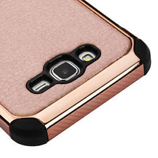 FOR SAMSUNG Galaxy J7 2015 PHONE Rose Gold HYBRID Lychee Grain SKIN CASE Cover
