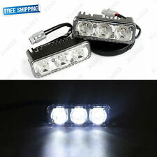 2x 3-LED White High Power Car DRL Driving Fog Light Universal 12V Distance Light