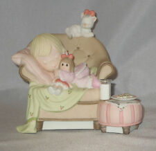 Precious Moments Christmas Figurine Girl Sleeping Cookies For Santa Cat Chair