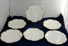 "x6 VINTAGE HAVILAND LIMOGES CHINA SILVER ANNIVERSARY 7.5"" GOLD TRIM LUNCH PLATES"