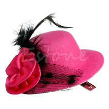 Mini Feather Ladys Rose Top Hat Cap Lace fascinator Hair Clip Costume Accessory