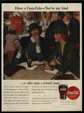 1944 COCA-COLA - WWII Women Soldiers - WAC - Allies - Coke Art -  VINTAGE AD