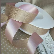 10, 15, 25mm  Reversible satin metallic glitter ribbon.Wedding Bridal Invitation