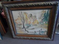 PASTORAL SCENE WATER COLOR BARE TREE WITH FENCE & PINES NICE ANTIQUE FRAME