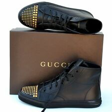 GUCCI New sz 39 G US 9.5 Womens Black Studded Shoes Boots High Top Sneakers