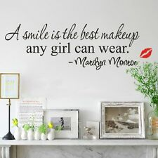Large A Smile is Best Makeup Marilyn Monroe Quote Wall Stickers Home Decal