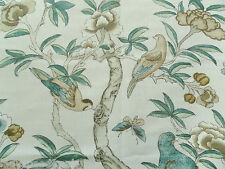 Thibaut Curtain Fabric GISELLE 0.85m Beige/Green Birds/Floral Linen Design 85cm