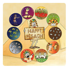 Passover PVC Placemat, Showing 'Happy Pesach' Text with 10 Plagues Design