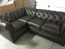 Pottery Barn Leather Chesterfield Pleated Sofa Sectional 3 pc cognac