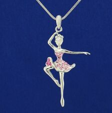 W Swarovski Crystal Ballerina Pink Ballet Dancer Chain Pendant Necklace Gift