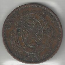QUEBEC BANK OF CANADA, 1837, SOUS (ONE PENNY TOKEN), COPPER, KMTn12, VERY FINE