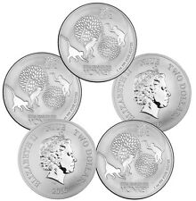 2016 1 oz Silver New Zealand Monkey Coins - 5 oz Total .999 fine (BU, Lot of 5)