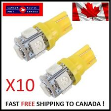 10X T10 Yellow 194 168 2825 5050 5SMD LED Bright Car Lights Lamp Bulb Peanut HID