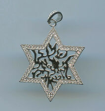 925 STERLING SILVER & PAVE CZ STAR OF DAVID & SHEMA ISRAEL PRAYER PENDANT
