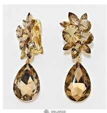 """2.75"""" Brown Gold Long Rhinestone Crystal Pageant Dangle Earrings Clip On"""