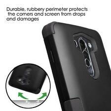 BLACK TUFF DUAL LAYER HYBRID IMPACT PHONE CASE COVER FOR LG G VISTA VS880