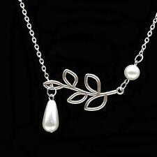 PEARL AND LEAF BRANCH NECKLACE Hanging Charm Silver Tone Chain NEW Bridesmaid