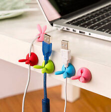 4PC Rabbit Cable Drop Clip Desk 2016 Tidy Organiser Wire Cord USB Charger Holder