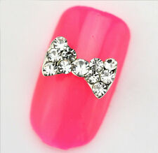 10pcs 3D Nail Art Small Crystal Rhinestone Medium Long Tied Bows Stickers 2016