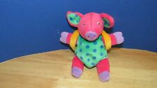 Plush beanbag dark pink pig green blue polka dots purple feet backpack 6.5""