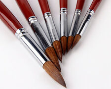 6pcs Red Sable Brushes Watercolor Acrylic Details Painting Brush Red Long Handle