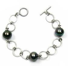 "7"" 9-10mm Tahitian Black Pearl 925 Silver Fancy Link Bracelet"