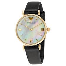 Emporio Armani Classic Mother Of Pearl Dial Black Leather Quartz Ladies Watch