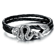 Silver Stainless Steel Snake Hook Clasp Genuine leather Mens Unisex Bracelet New