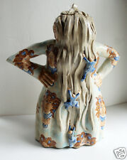 Marilyn Andrews Pottery Figural Teapot Lady Hair Hanging Over Face Original