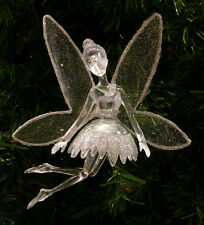 ACRYLIC SILVER GLITTERED FAIRY w/ TOULE WINGS & TREE CLIP CHRISTMAS ORNAMENT