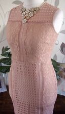 NEXT SZ 18 PETITE NUDE BLUSH LACE PENCIL WIGGLE MIDI DRESS BNWT NEW IN RRP £58!