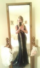 Evening/prom/red carpet,  gown in black with train & silver detail, size 8, MINT