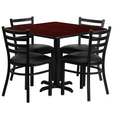 """Restaurant Table Chairs 36"""" Square Mahogany Laminate w/4 Ladder Back Metal chair"""